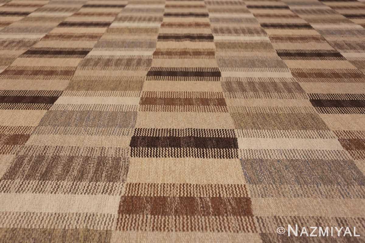 Wide hallway vintage Scandinavian kilim rug by Brita Grahn 49804 rows of lines Nazmiyal