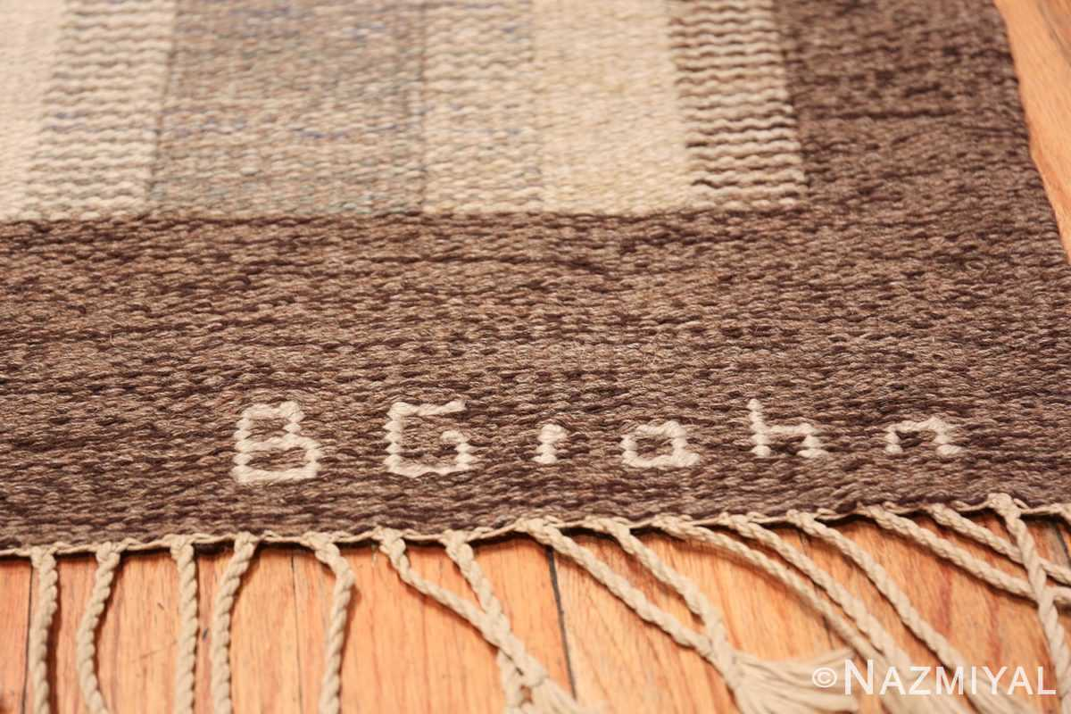 Wide hallway vintage Scandinavian kilim rug by Brita Grahn 49804 signature documented Nazmiyal