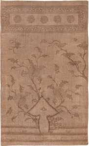 Brown Earth Tone Antique Mongolian Kilim Rug 49800 - Nazmiyal