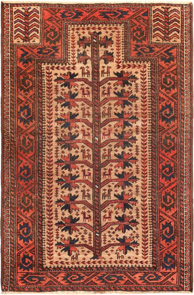 Antique Persian Baluch Tribal Prayer Rug 49787 - Nazmiyal