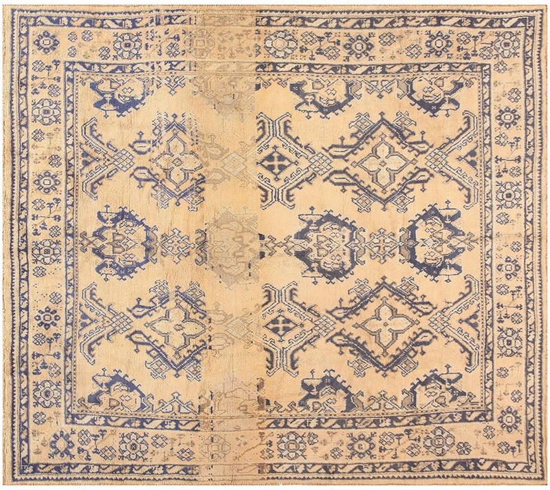 Elephant Print Design Turkish Oushak Rug Picture - Nazmiyal