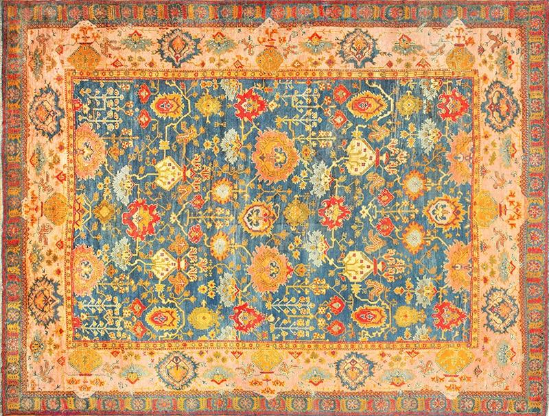 Image of a Blue All Over Design Antique Turkish Oushak Rug - Nazmiyal