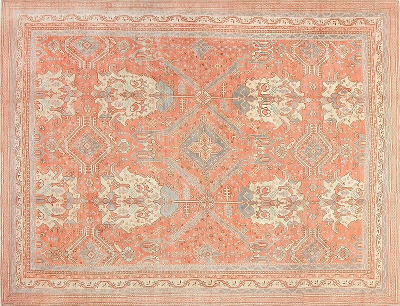 Large Rust Color Antique Turkish Oushak Carpet Photograph - Nazmiyal