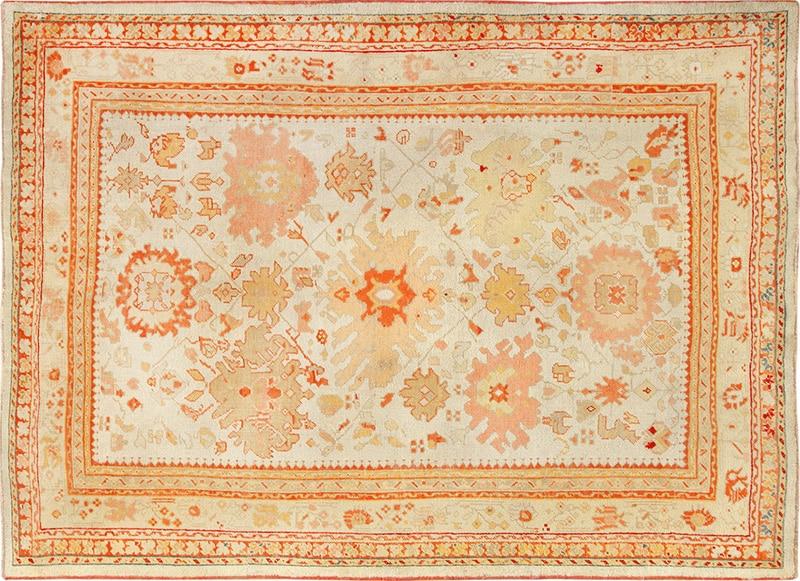 Photo Of An Ivory Background Antique Oushak Turkish Carpet - Nazmiyal