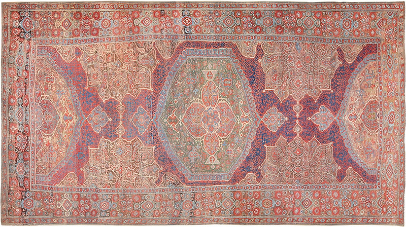 Picture of a 17th Century Turkish Smyrna Oushka Carpet - Nazmiyal