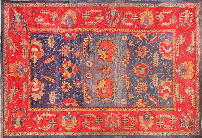 Picture of an Art's and Crafts Design Colorful Antique Turkish Oushak Carpet - Nazmiyal