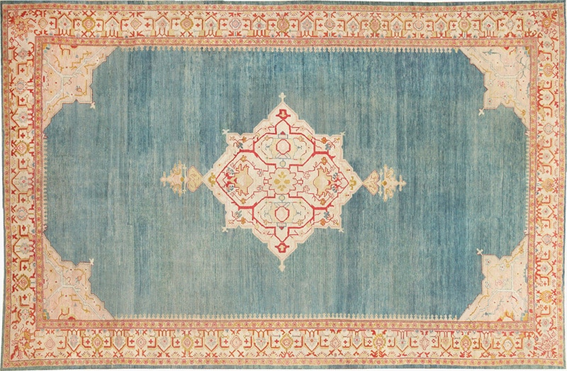 Picture of a Light Blue Central Medallion Design Antique Turkish Oushak Carpet - Nazmiyal