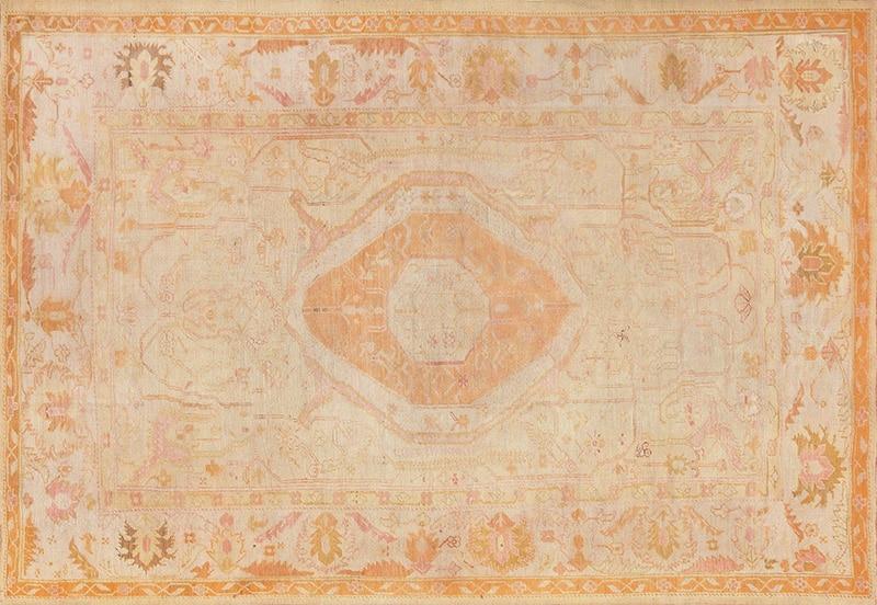 Room Size Central Medallion Turkish Oushak Rug Picture - Nazmiyal