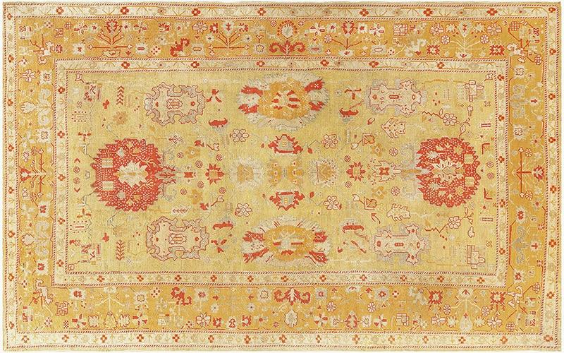 Tribal Green'ish Gold Antique Turkish Oushak Carpet Picture - Nazmiyal