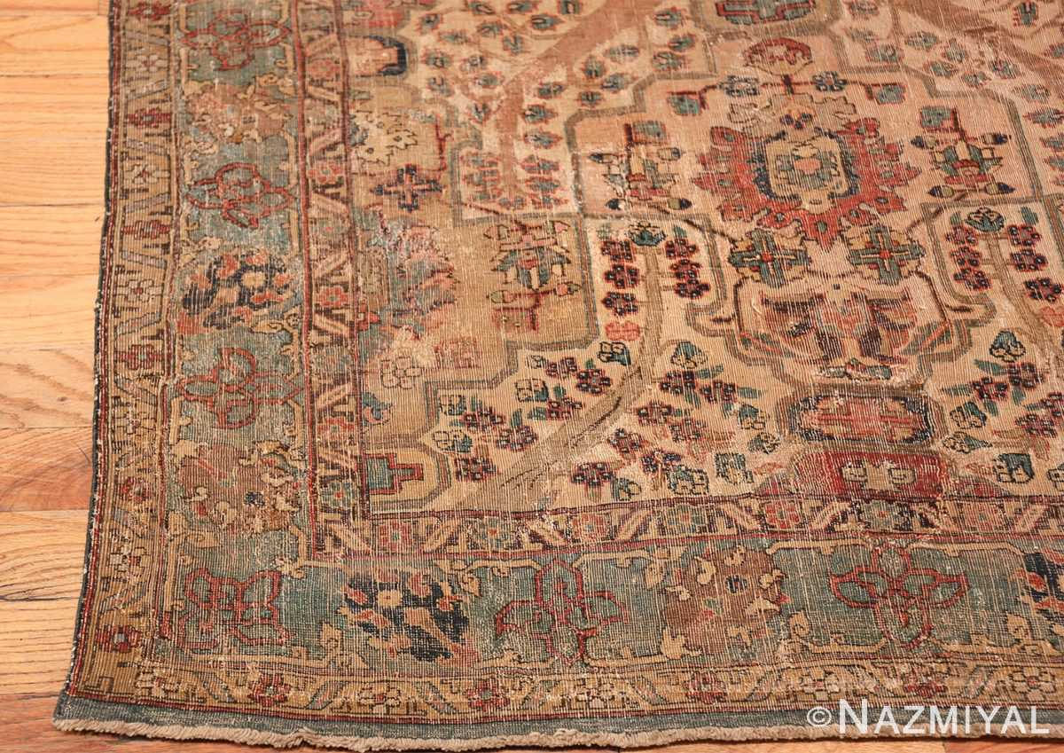 17th Century Small Size Persian Khorassan Rug 49698 Left Side Corner Nazmiyal
