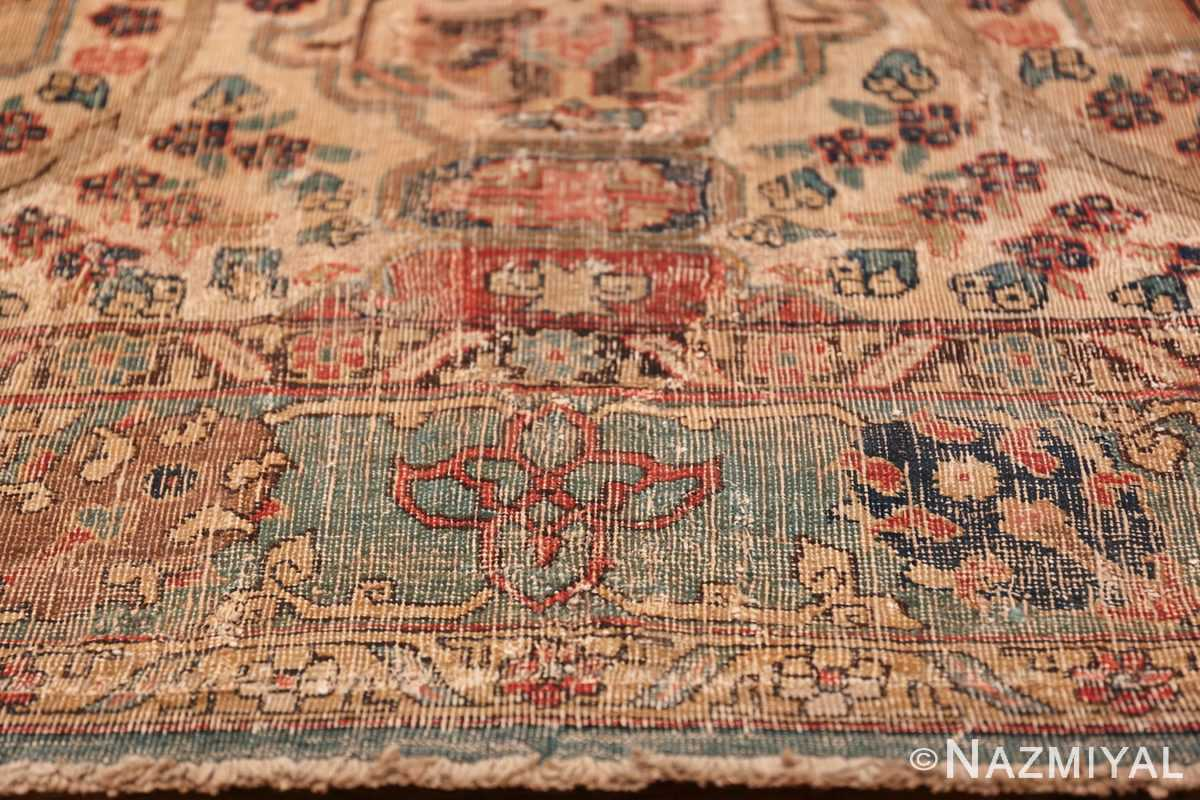 17th Century Small Size Persian Khorassan Rug 49698 Lower Red Flower Nazmiyal