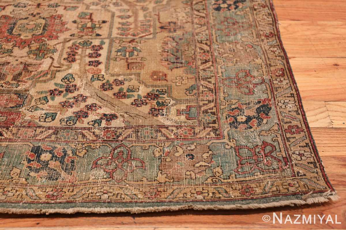 17th Century Small Size Persian Khorassan Rug 49698 Side Corner Nazmiyal