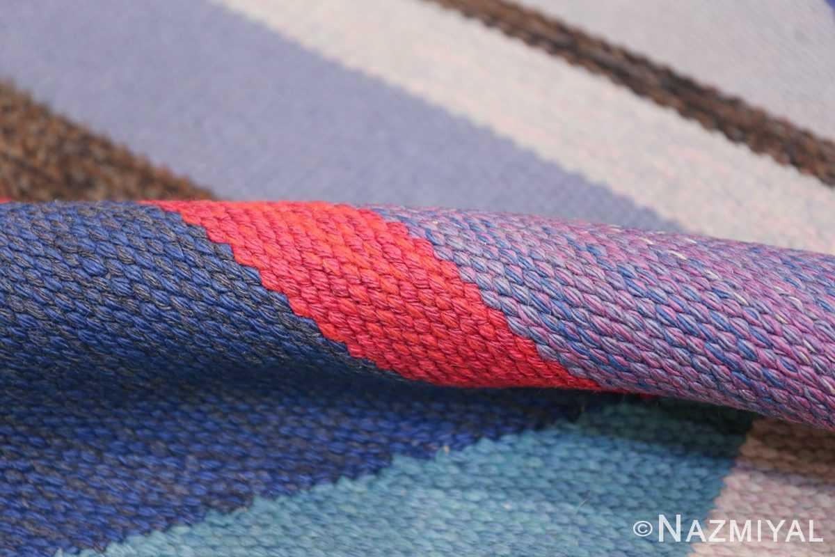 Agda Osterberg Vintage Scandinavian Swedish Kilim Rug 49822 Navy Pile Nazmiyal