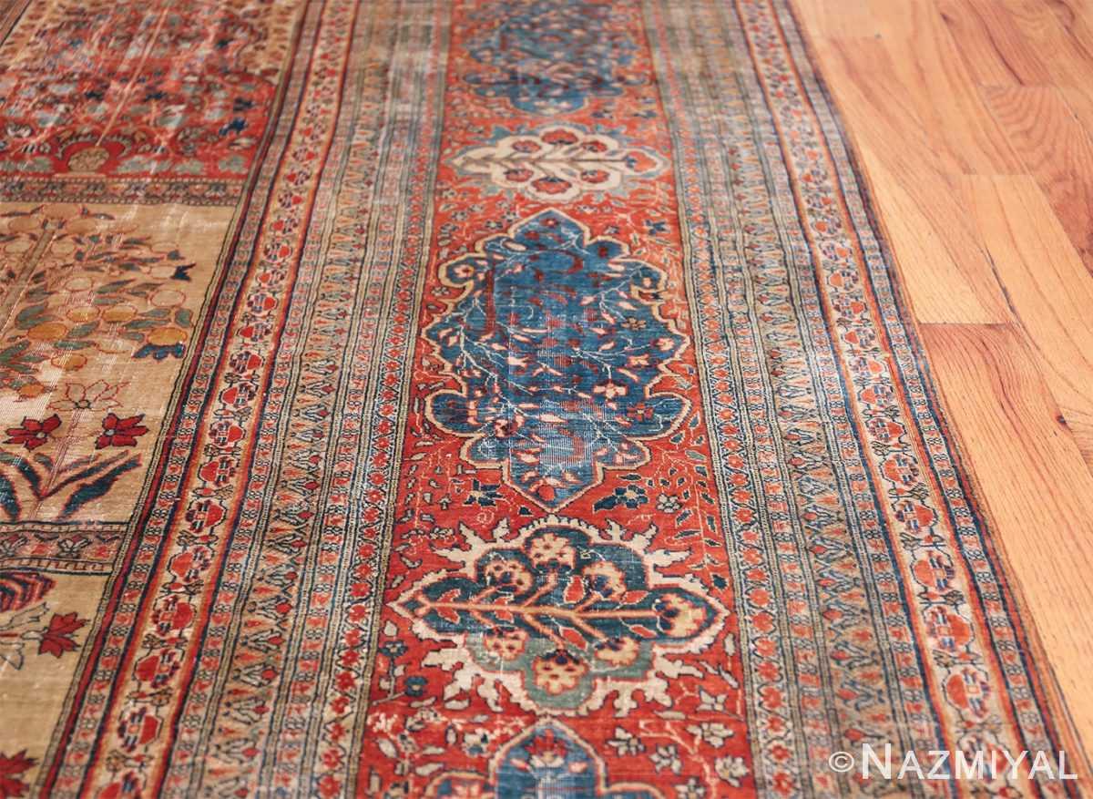 Antique Garden Design Persian Silk Heriz Rug 49140 Border Nazmiyal