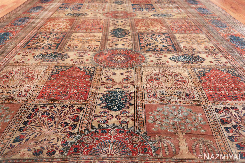 Antique Garden Design Persian Silk Heriz Rug 49140 Closer Field Nazmiyal