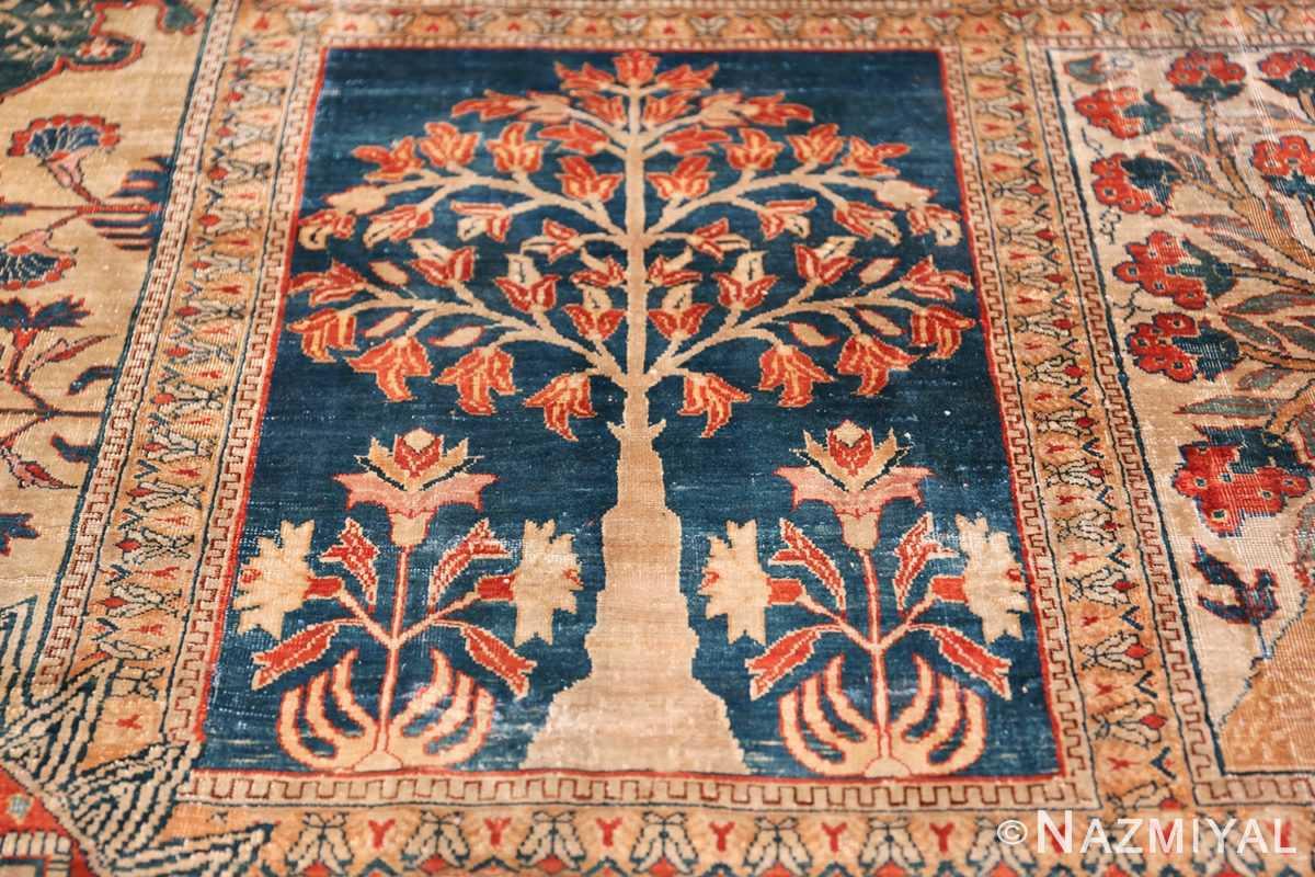 Antique Garden Design Persian Silk Heriz Rug 49140 Dark Blue Square Nazmiyal