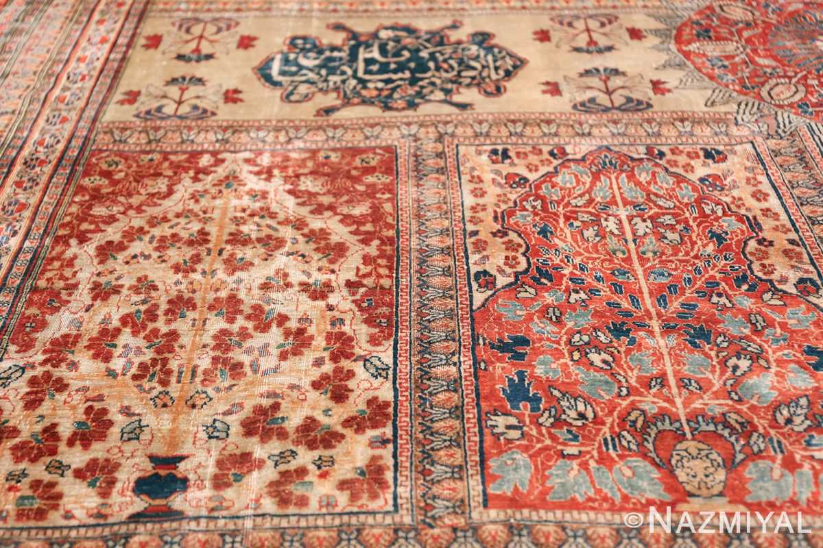 Antique Garden Design Persian Silk Heriz Rug 49140 Double Vases Nazmiyal