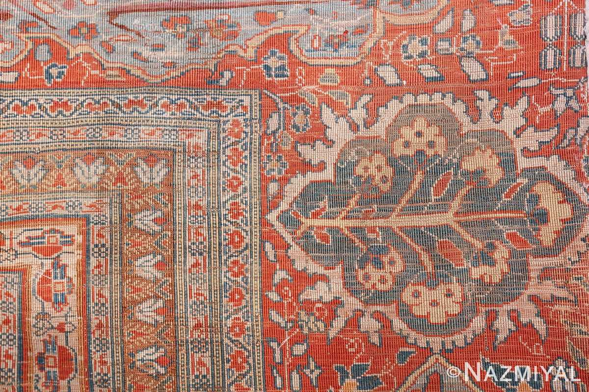 Antique Garden Design Persian Silk Heriz Rug 49140 Knots Woven Nazmiyal