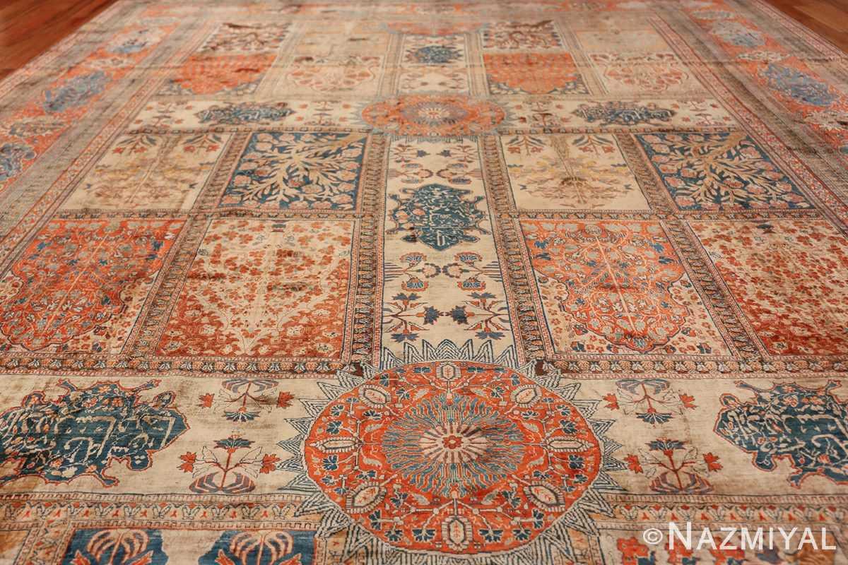 Antique Garden Design Persian Silk Heriz Rug 49140 Light Side Field Namziyal