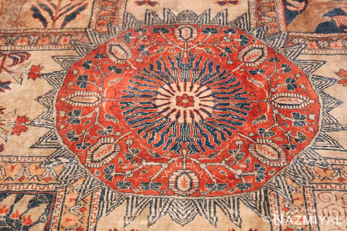 Antique Garden Design Persian Silk Heriz Rug 49140 Red Circle Nazmiyal