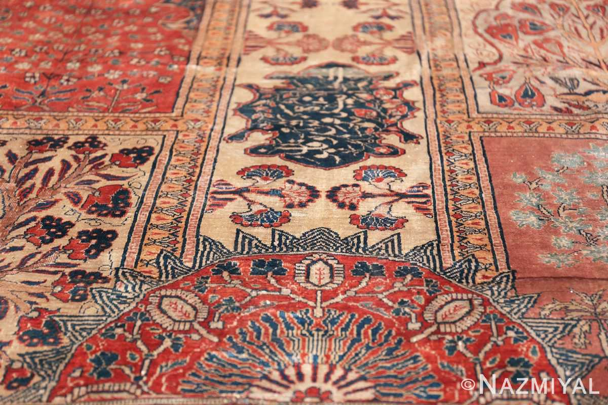 Antique Garden Design Persian Silk Heriz Rug 49140 Rising Red Sun Nazmiyal