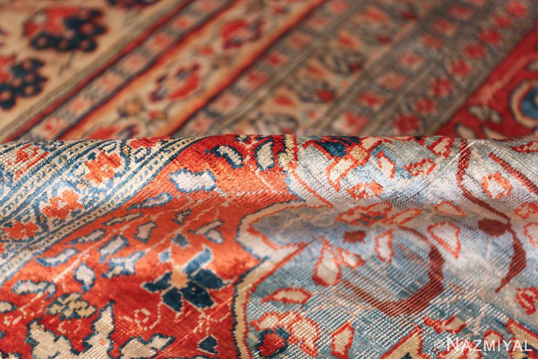 Antique Garden Design Persian Silk Heriz Rug 49140 Shiny Pile Nazmiyal