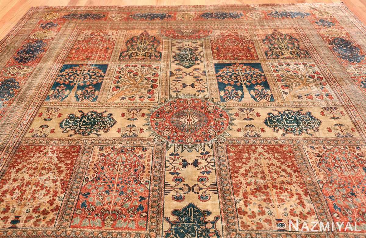 Antique Garden Design Persian Silk Heriz Rug 49140 Top Design Nazmiyal