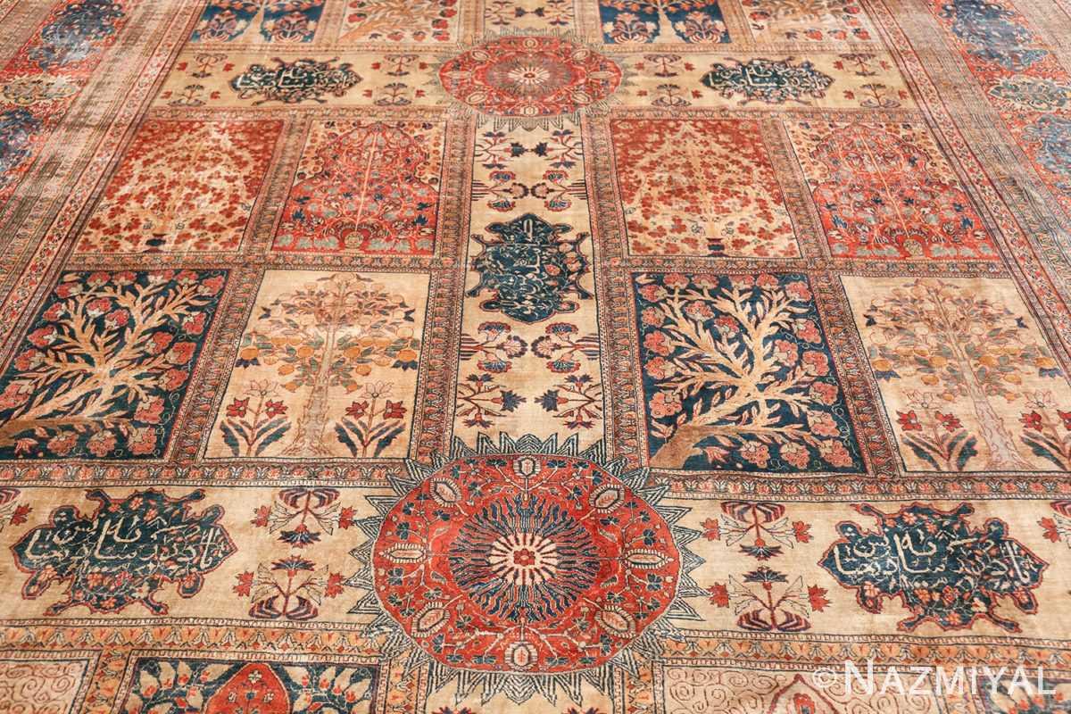 Antique Garden Design Persian Silk Heriz Rug 49140 Two Middle Circles Nazmiyal