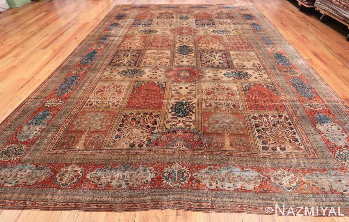 Antique Garden Design Persian Silk Heriz Rug 49140 Whole Design Dark Side Nazmiyal