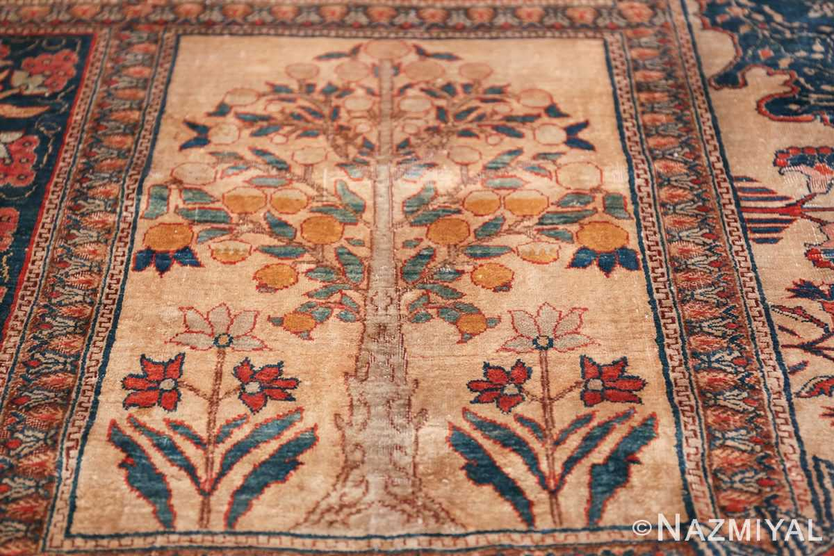 Antique Garden Design Persian Silk Heriz Rug 49140 Yellow Willow Nazmiyal