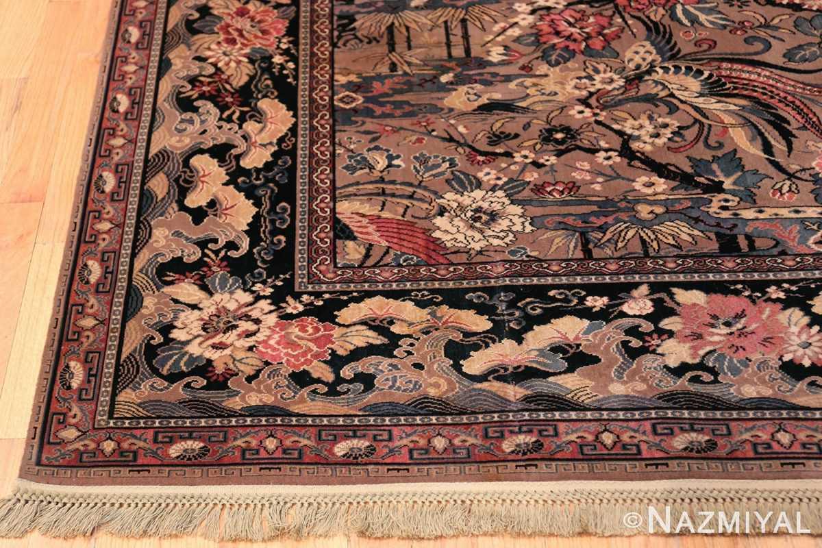 Birds of Paradise Vintage English Wilton Rug 49815 Side Corner Nazmiyal