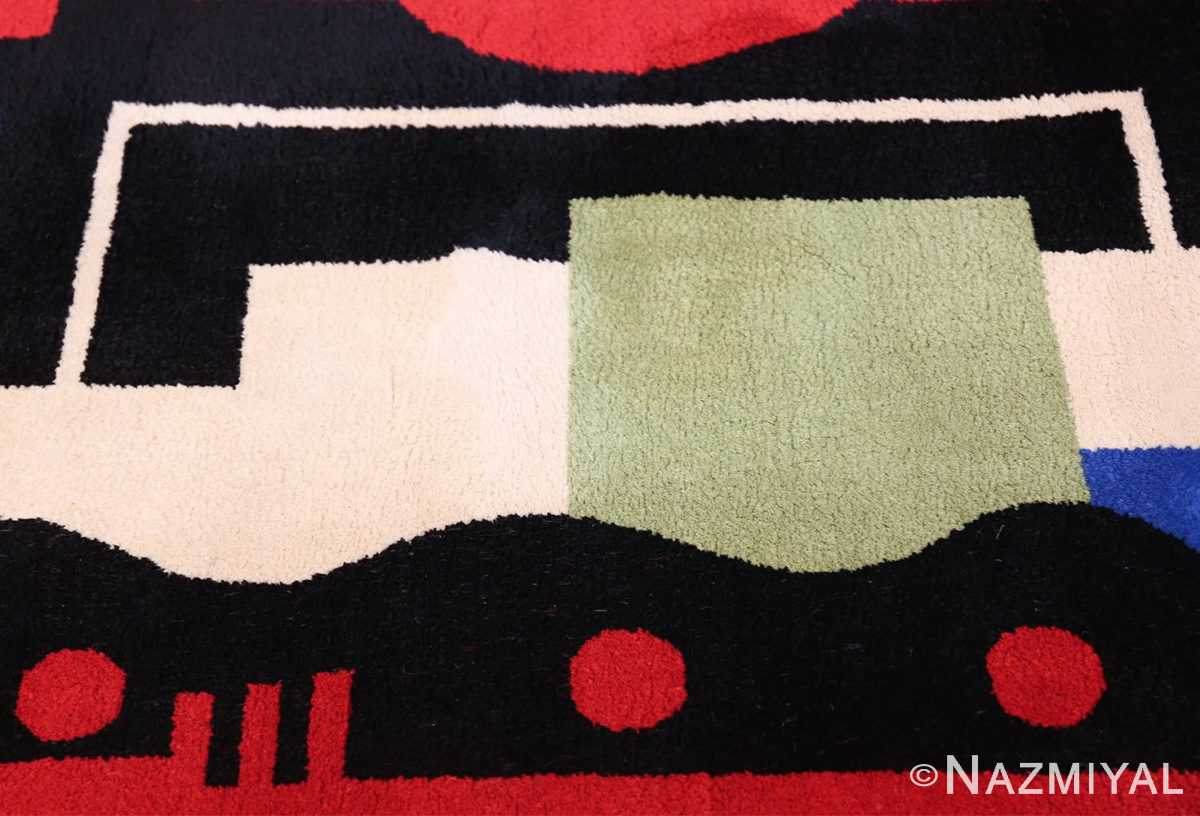 Fernand Leger No 9 Rouge design Vintage French Rug 49811 Green Sqaure Nazmiyal