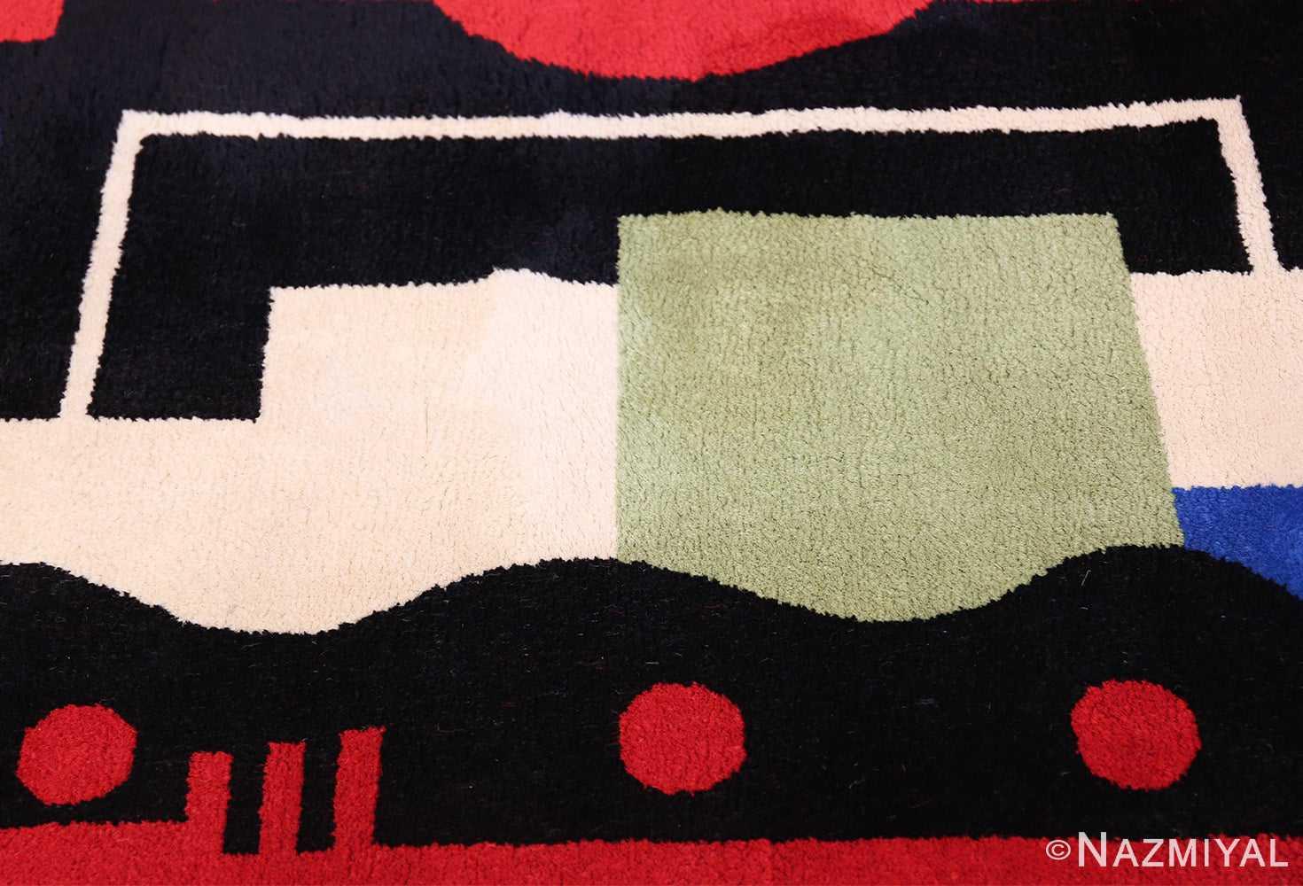 Fernand Leger No 9 Rouge design Vintage French Rug 49811 Green Sqaure Nazmiyal
