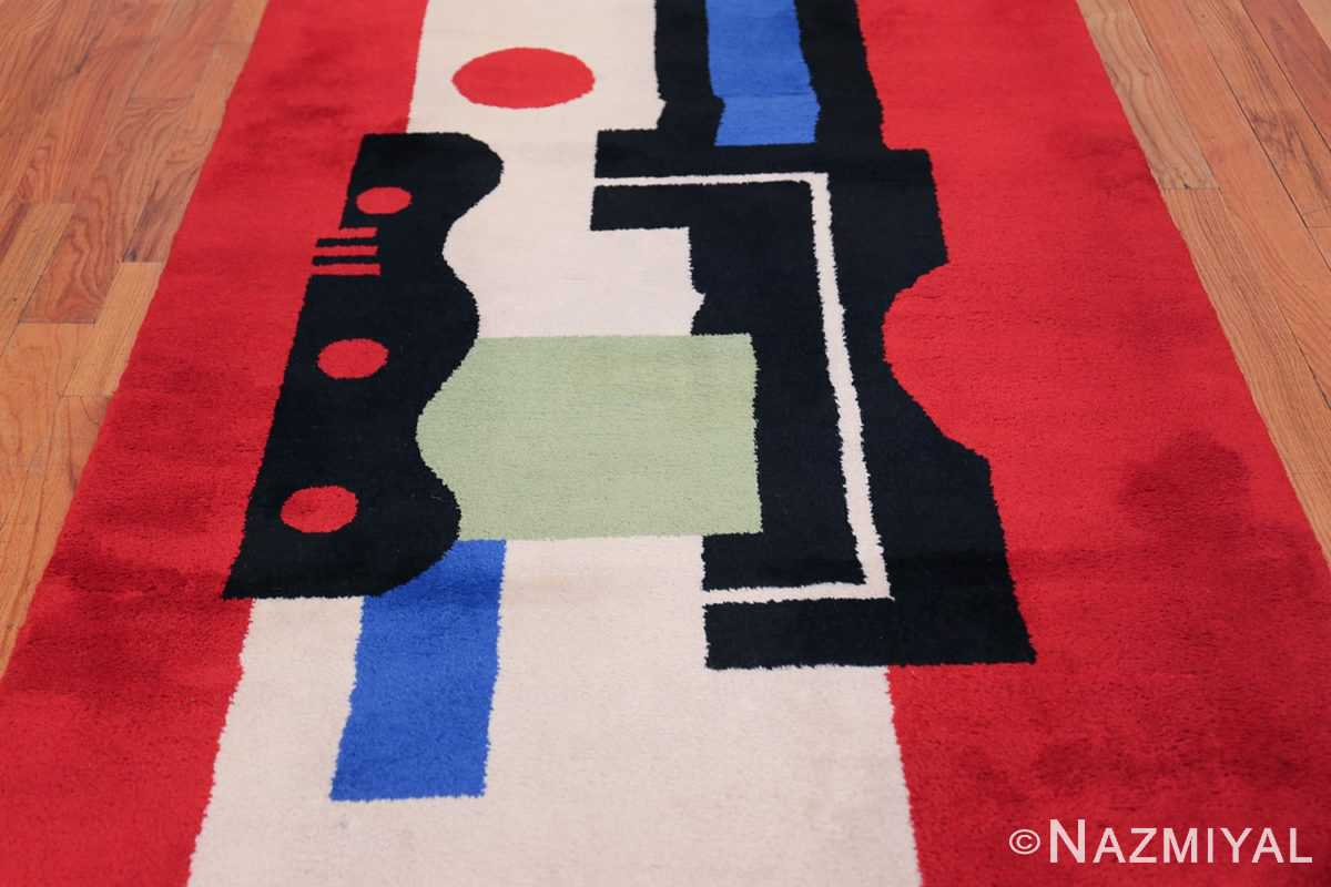 Fernand Leger No 9 Rouge design Vintage French Rug 49811 Middle Design Nazmiyal