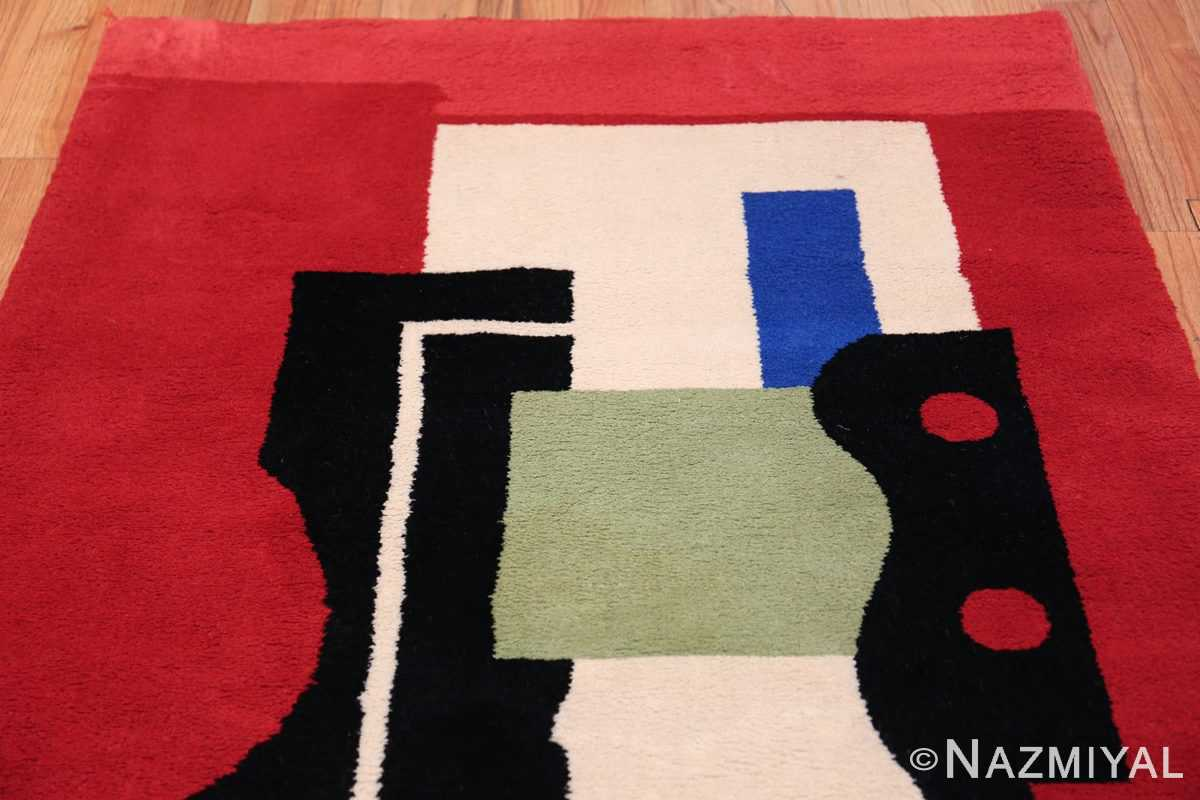Fernand Leger No 9 Rouge design Vintage French Rug 49811 Red Top Design Nazmiyal