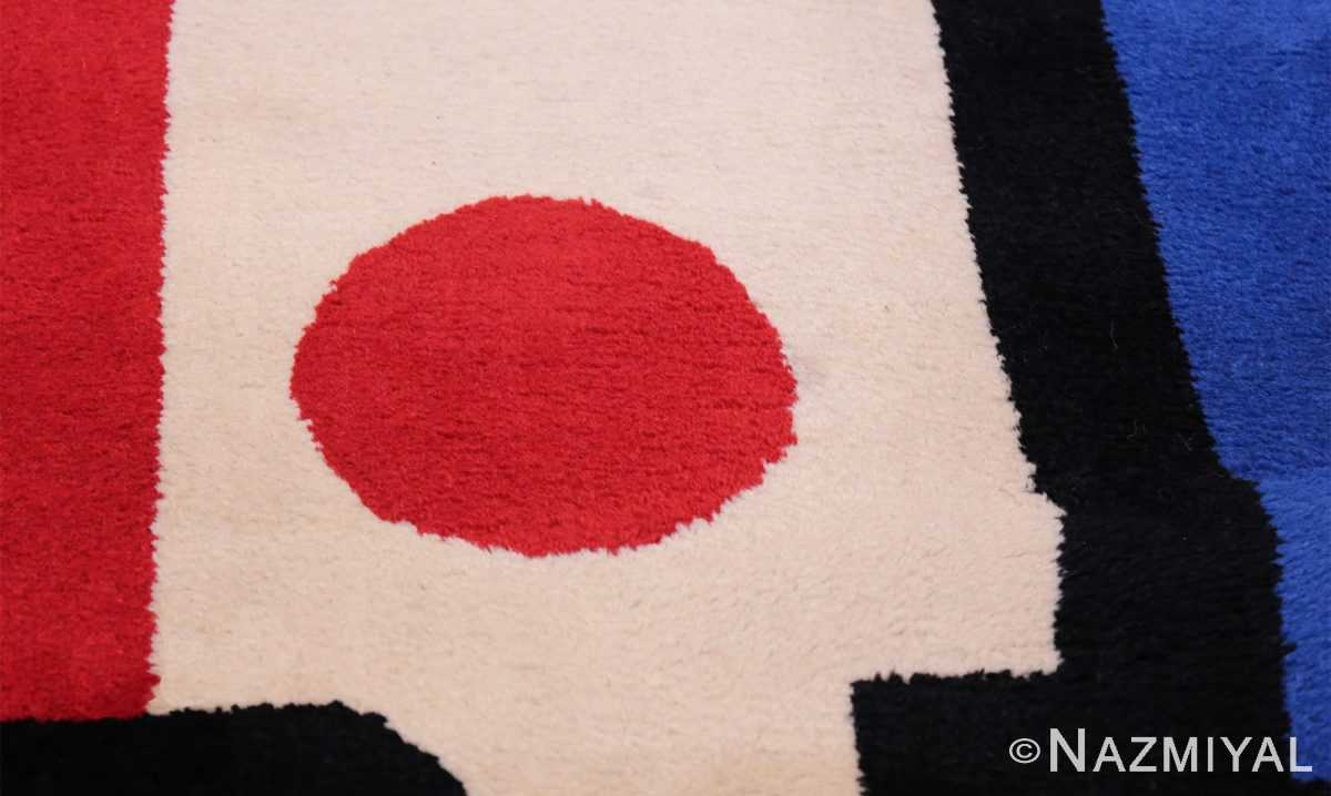 Fernand Leger No 9 Rouge design Vintage French Rug 49811 Rouge Circle Namziyal