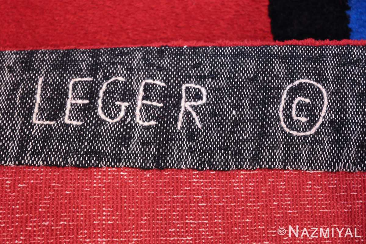 Fernand Leger No 9 Rouge design Vintage French Rug 49811 Signature Mark Nazmiyal