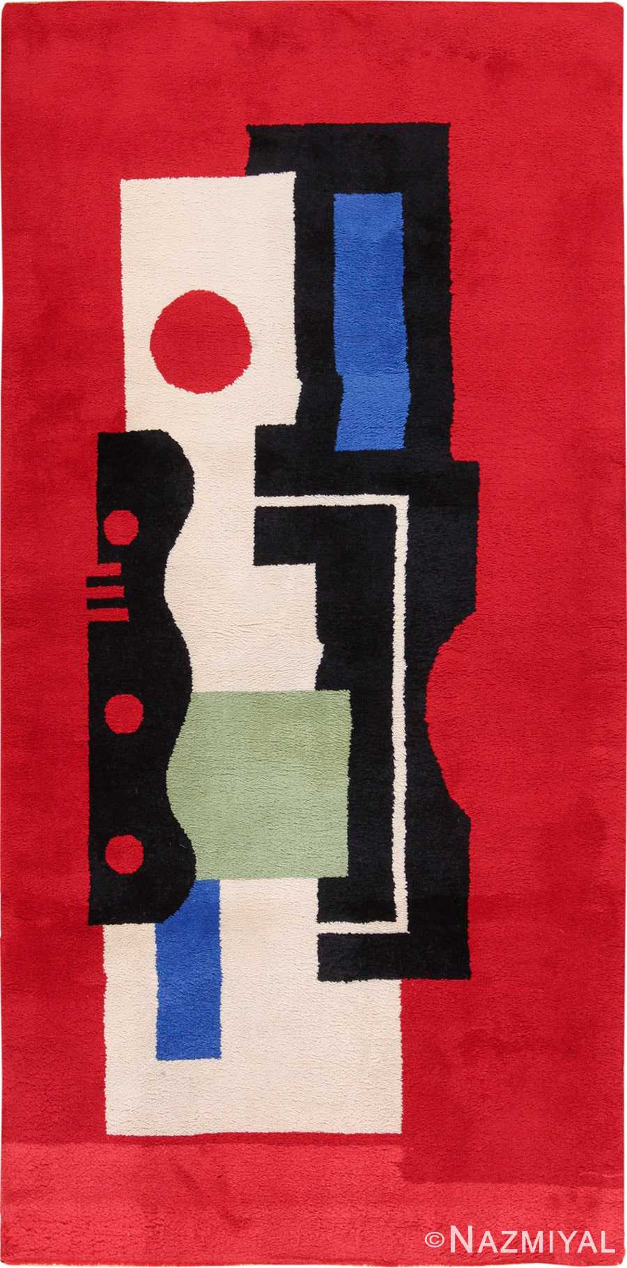 Fernand Leger No 9 Rouge Design Vintage French Rug 49811 by Nazmiyal