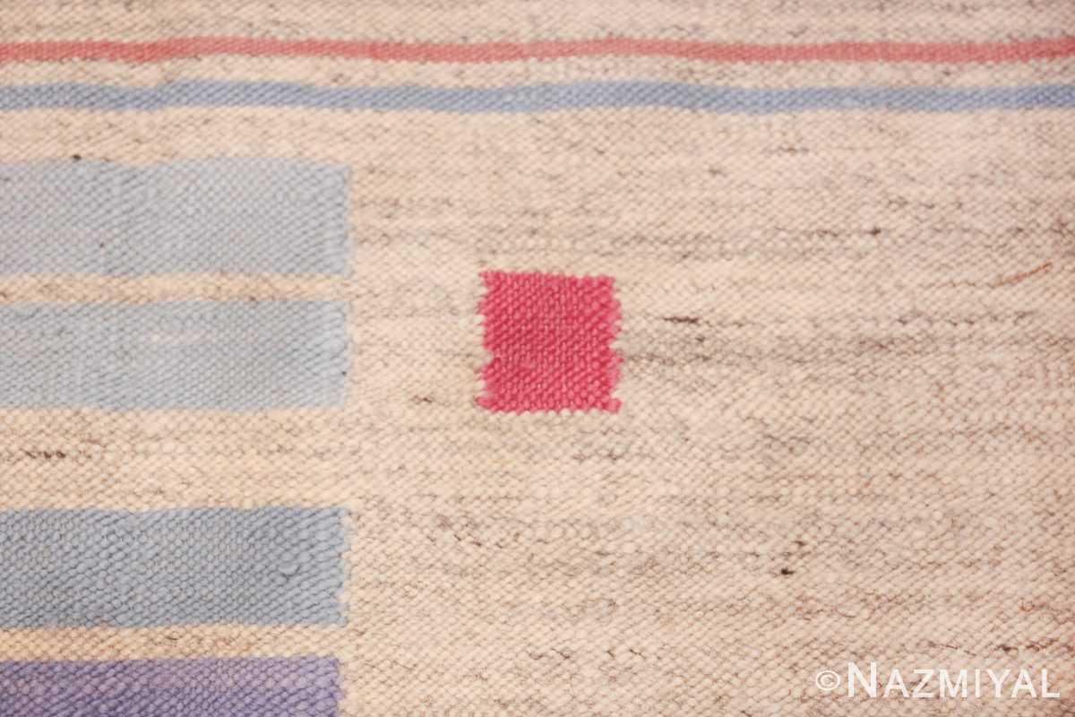 Flat Woven Vintage Scandinavian Swedish Kilim Rug 49819 Blue Lines Pink Square Nazmiyal