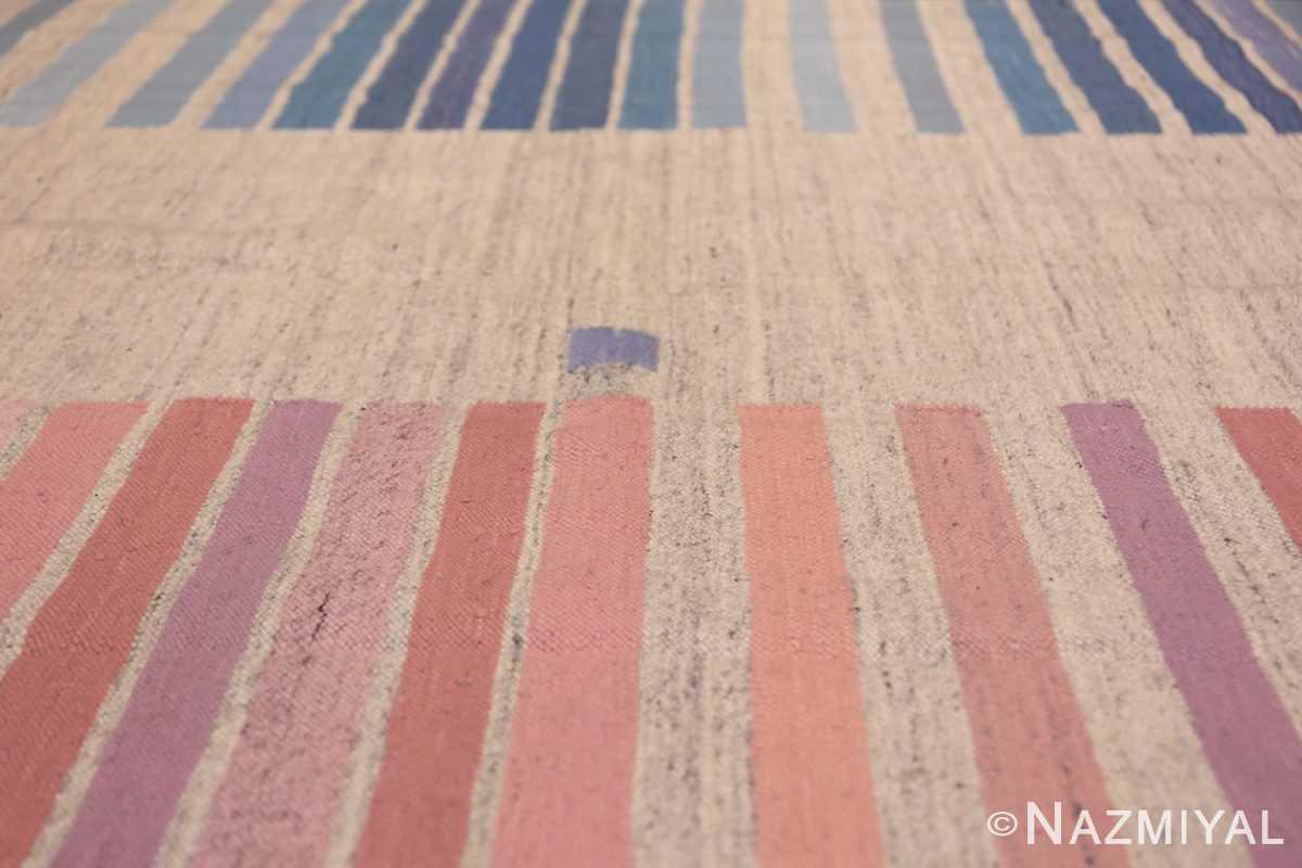 Flat Woven Vintage Scandinavian Swedish Kilim Rug 49819 Horizontal Pink Blue Lines Nazmiyal