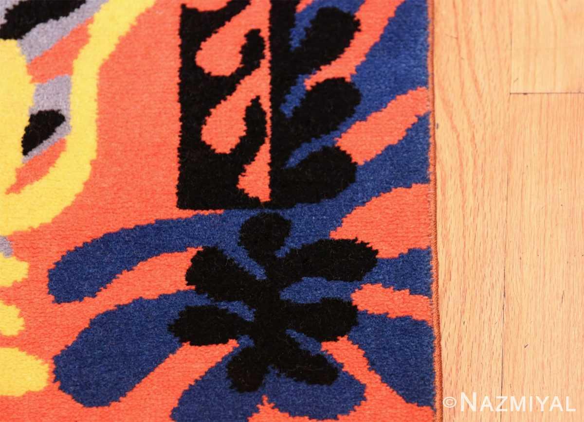 Henri Matisse Mimosa Vintage Rug 49809 Black Blue Border Nazmiyal