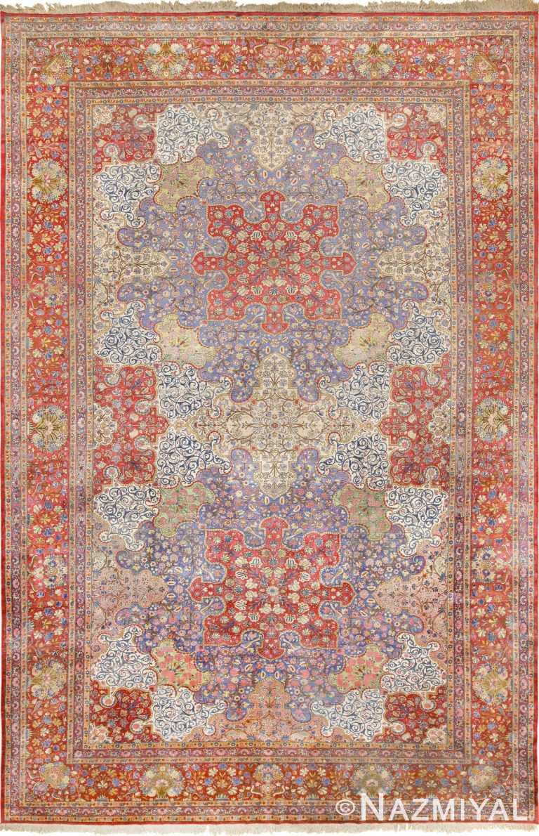 Large Antique Silk Persian Kashan Dabir Rug 49741 Nazmiyal