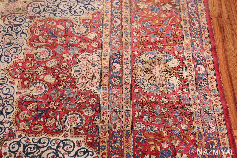 Large Antique Persian Kashan Dabir Rug 49741 Floral Border Nazmiyal
