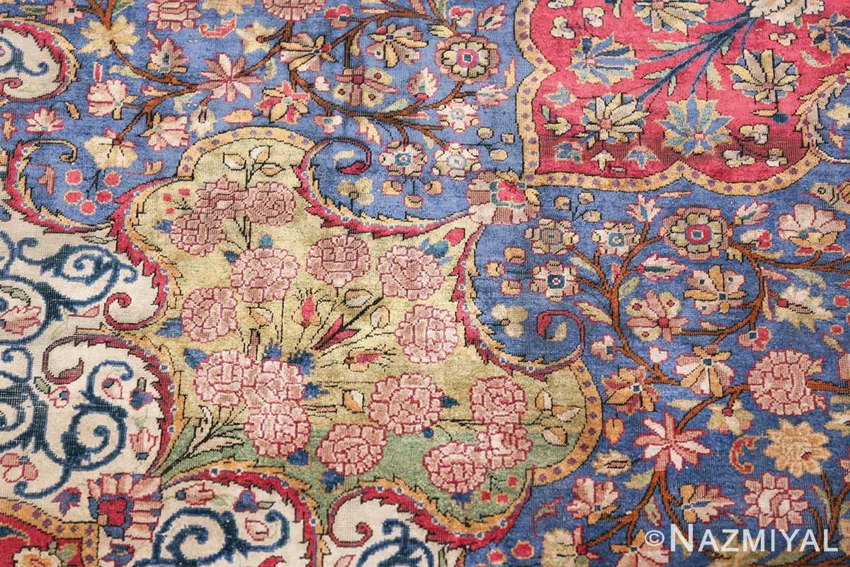 Large Antique Persian Kashan Dabir Rug 49741 Green Shiny Design Nazmiya