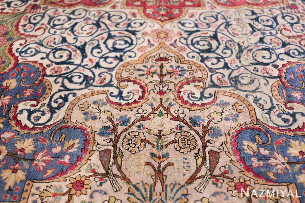 Large Antique Persian Kashan Dabir Rug 49741 Ivory Birds Nazmiyal