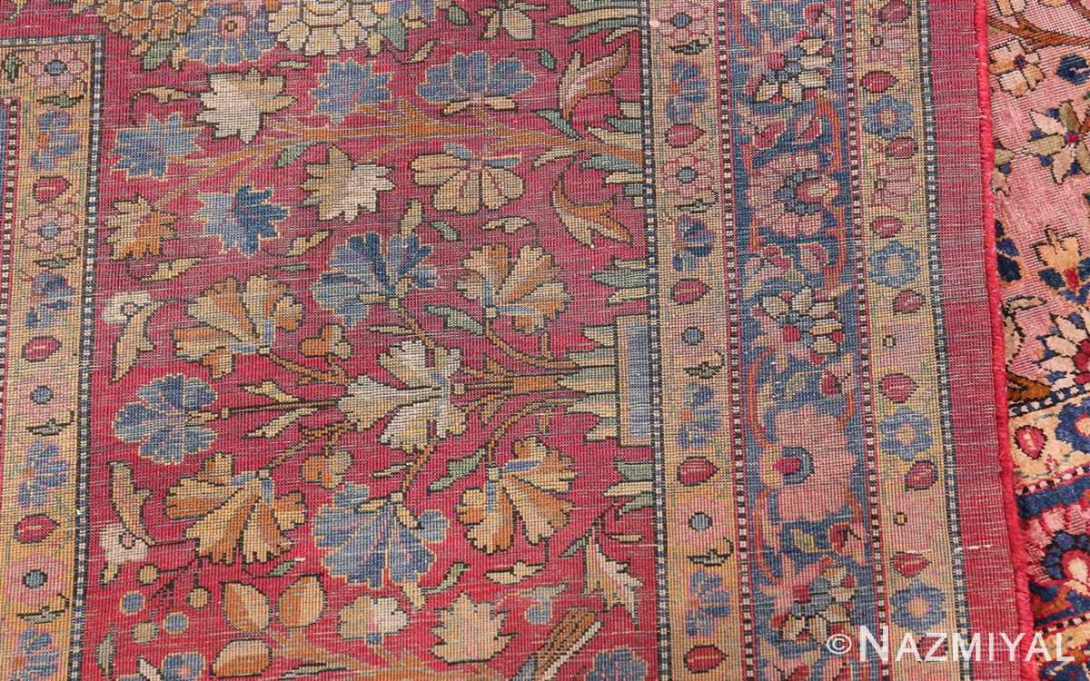 Large Antique Persian Kashan Dabir Rug 49741 Knots Back Nazmiyal