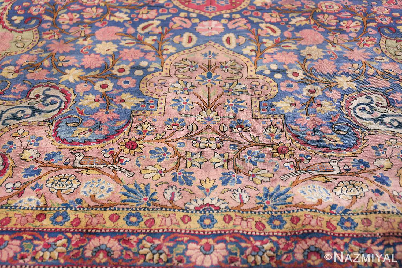 Large Antique Persian Kashan Dabir Rug 49741 Light Coral Shape Nazmiyal