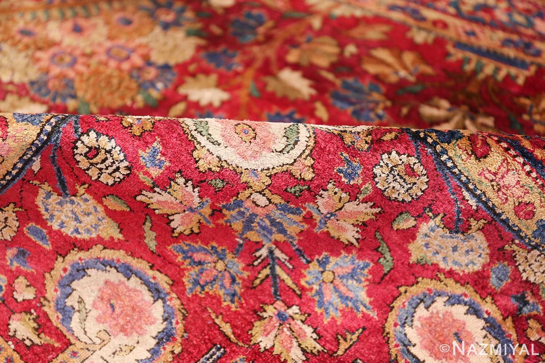 Large Antique Persian Kashan Dabir Rug 49741 Shimmer Pile Nazmiyal