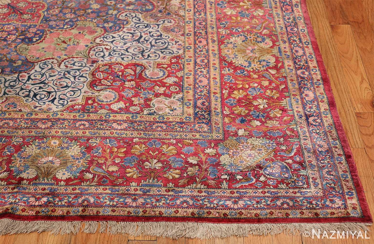 Large Antique Persian Kashan Dabir Rug 49741 Side Corner Nazmiyal