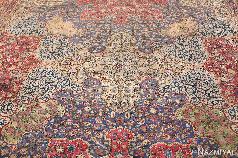 Large Antique Persian Kashan Dabir Rug 49741 Top Field Nazmiyal